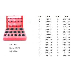 zestaw O-ringów NBR 382 szt. (czerwony lub niebieski) ST017